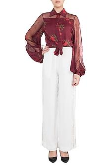 Burgundy Rose Printed Collared Blouse by Saaksha & Kinni