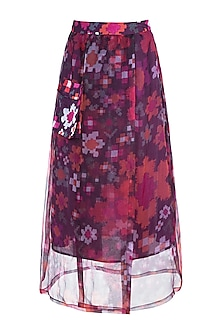 Multi Colored Abstract Floral Printed Sheer Wrap Skirt by Saaksha & Kinni