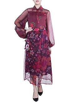 Multi Colored Abstract Floral Printed Sheer Wrap Skirt by Saaksha & Kinni