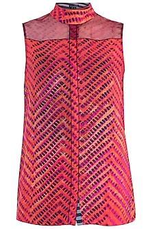Pink Printed Leheriya Sleeveless Blouse by Saaksha & Kinni