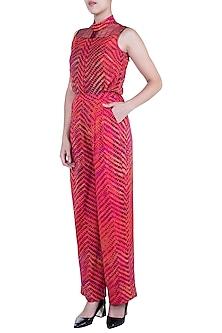 Pink Printed Leheriya Sleeveless Blouse by Saaksha & Kinni