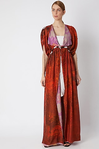 Red Printed & Reversible Kaftan With Belt by Saaksha & Kinni