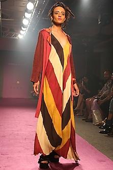 Fuchsia Digital Printed Asymmetrical Maxi Dress by Saaksha & Kinni