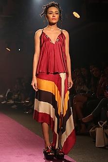 Fuchsia Printed Wrap Skirt by Saaksha & Kinni
