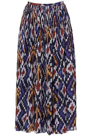 Multi-Coloured Ikkat Print Micropleated Skirt by Saaksha & Kinni