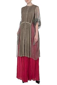 Beige Micropleated Striped Kurta by Saaksha & Kinni