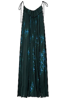 Bottle Green Micropleated Maxi Dress by Saaksha & Kinni