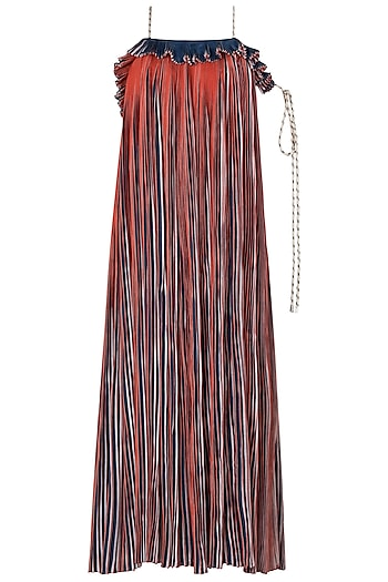 Multi-Coloured Micropleated Maxi Dress by Saaksha & Kinni