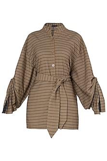 Tan Striped Jacket and Belt by Saaksha & Kinni