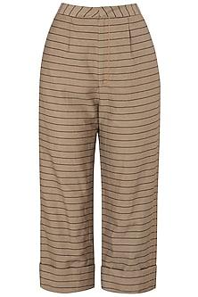 Tan Striped Trousers by Saaksha & Kinni