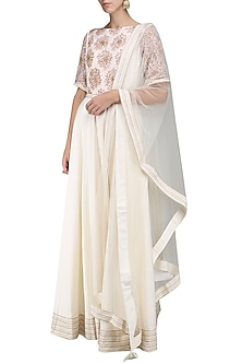 Ivory Embroidered Anarkali Set by Sakshi K Relan
