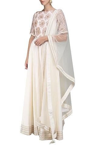 Ivory Embroidered Anarkali Set by Sakshi K Relan