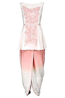 Ivory Embroidered Top with Dhoti Pants by Sakshi K Relan