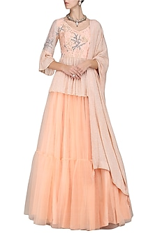 Iced Apricot Embroidered Lehenga Set by Sakshi K Relan
