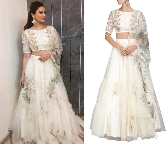 Ivory Embroidered Lehenga Set by Sakshi K Relan
