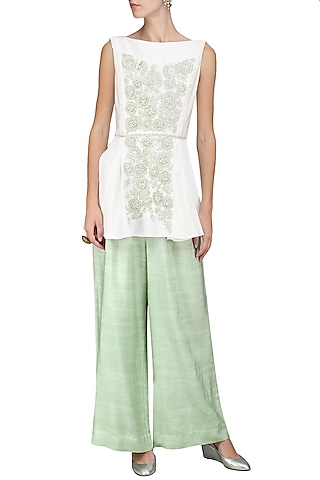 Ivory Embroidered Peplum Top with Palazzo Pants by Sakshi K Relan