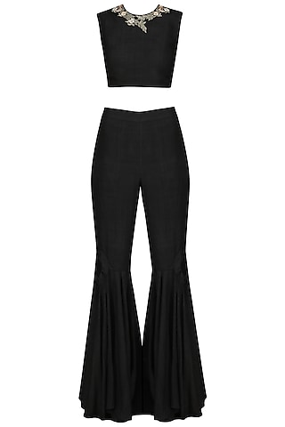 Black Embroidered Crop Top with Flared Pants by Sakshi K Relan