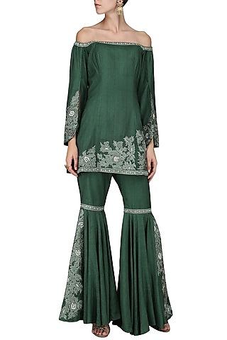 Emerald Embroidered Sharara Set by Sakshi K Relan