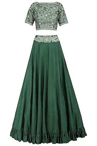 Emerald Embroidered Lehenga Set by Sakshi K Relan