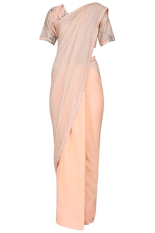 Iced Apricot Embroidered Saree by Sakshi K Relan