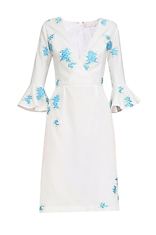 Ivory and Blue Embroidered Overlap Dress by Sakshi K Relan