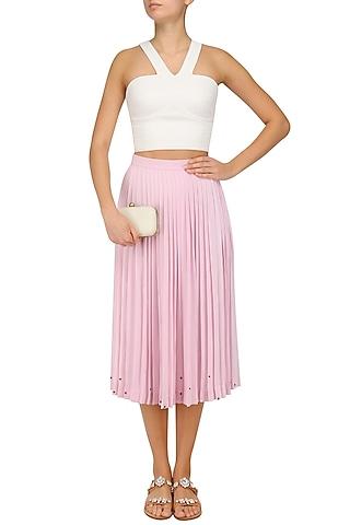 Lavender Calf Length Pleated Skirt by Sakshi K Relan