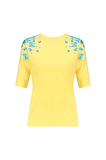 Yellow and Blue Embroidered Top by Sakshi K Relan