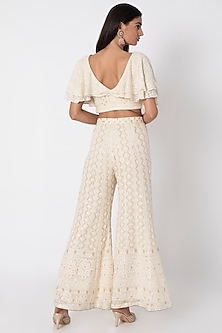 Ivory Lucknowi Sharara Pants With Top by Sole Affair