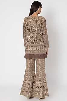 Brown Embroidered Bustier & Sharara Pants With Jacket by Sole Affair