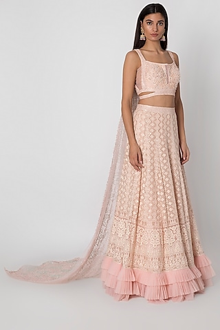 Rose Pink Embroidered Lucknowi Lehenga Set by Sole Affair