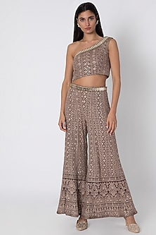 Brown Embroidered Sharara Pants & Top by Sole Affair