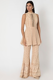 Nude Embroidered Lucknowi Peplum Top With Sharara Pants by Sole Affair