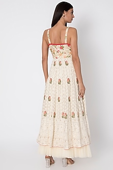 Ivory Lucknowi Anarkali Gown With Dupatta by Sole Affair