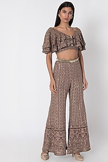 Brown Lucknowi Sharara Pants With Top by Sole Affair
