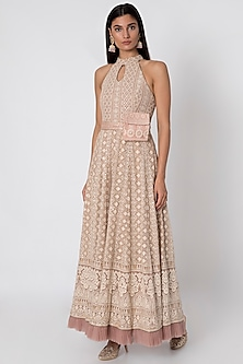 Nude Embroidered Anarkali Gown With Belt Bag by Sole Affair
