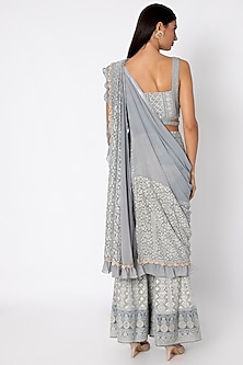 Silver Grey Embroidered Sharara Set by Sole Affair