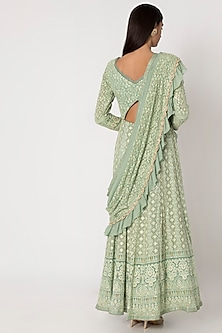 Jade Green Embroidered Anarkali Gown With Dupatta by Sole Affair