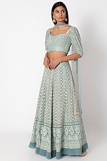Ice Blue Embroidered Lucknowi Lehenga Set by Sole Affair