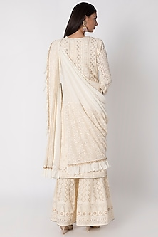 Ivory Embroidered Lucknowi Kurta Set by Sole Affair