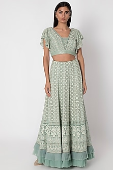 Jade Green Embroidered Lucknowi Lehenga Skirt With Top by Sole Affair