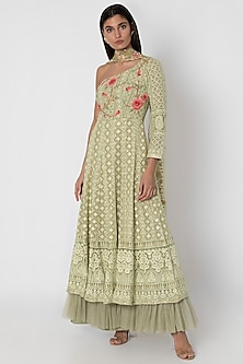 Olive Green Embroidered Lucknowi Anarkali Gown With Dupatta by Sole Affair