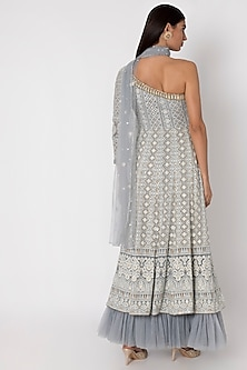 Silver Grey Embroidered Lucknowi Anarkali Gown With Dupatta by Sole Affair