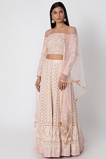 Rose Pink Embroidered Lehenga Set by Sole Affair