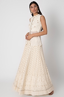 Ivory Embroidered Peplum Top With Skirt by Sole Affair