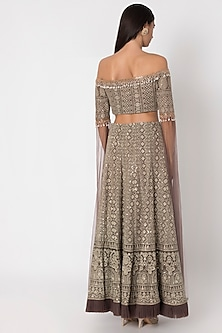 Brown Embroidered Lehenga Skirt WIth Blouse by Sole Affair