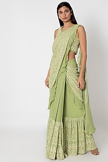 Green Embroidered Lucknowi Saree Set by Sole Affair