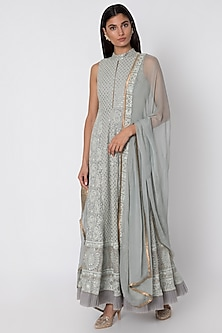 Grey Embroidered Anarkali With Dupatta by Sole Affair