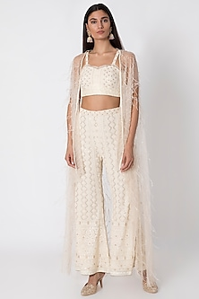 Ivory Embroidered Bustier With Pants & Jacket by Sole Affair