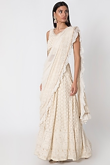 Ivory Lucknowi Embroidered Lehenga Set by Sole Affair