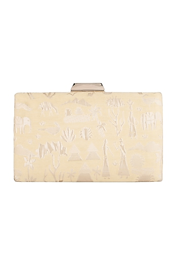 Light Yellow Warli Print Clutch by SONNET